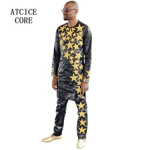 african men clothes bazin riche embroidery design top with pants LC063#