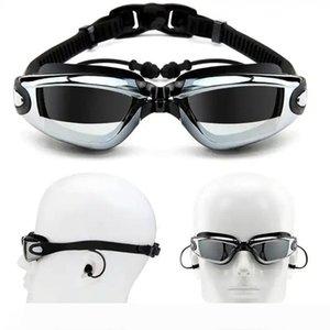 Myopia Swimming Goggles Earplug Professional Adult Silicone Swim Cap Pool Glasses anti fog Men Women Optical waterproof Eyewear FT107