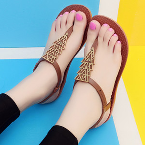 ZHENZHOU Women's shoes Net red sandals female flat with 2019 new bohemian national wind flat bottom wild resort beach shoes