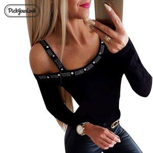 Pickyourlook Mujeres camiseta O del cuello atractivo calle de la vendimia camisa de la cintura manga larga sólido rebordear 2019 Nueva Hollow Body Blusa T200107