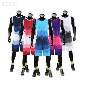 Uniforme de baloncesto de los hombres Deportes Traje Personalizar baloncesto juego de la camisa y pantalones cortos de impresión uniforme al por mayor de equipo de punto de moda 2020