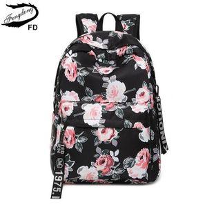FengDong women black flower backpack floral book bag school bags for girls bagpack female back bag casual travel laptop backpack
