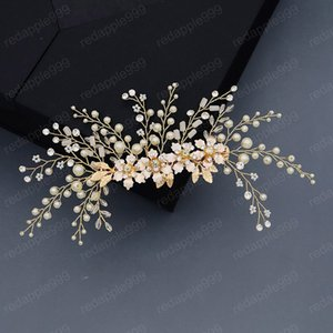 Luxuxgold Farbe Snowflake Petals Form-Perlen-Haarnadel Braut Hochzeit Fairy Beauty Hair Grip handgemachte Frauen-Haar-Band