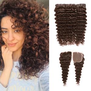 8A 딥 컬리 웨이브 번들 # 4 중형 브라운 브라질 버진 헤어 3 번들 (4x4 레이스 클로즈) Remy Human Hair Extensions