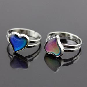 Сердце Кольцо Открыть Регулируемая температура Изменение цвета ювелирных изделий Mood Ring Ring Мода для женщин малышей