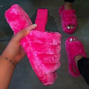 Kadınlar Kürklü Kürk Slaytlar Kapalı Terlik Kadın Kabarık Ayaklı Ladies Home Kadın Flats Ayakkabı Chanclas Mujer Dropship Y200424 Floplar