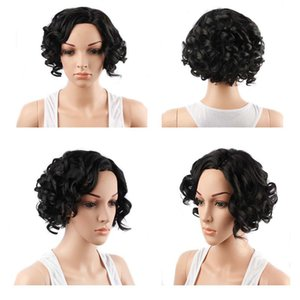 A Synthetic Wigs Short Curly Natural Hairline Fashionable Good Quality Heat Resistant Fiber Wigs Color Black 140g  Piece 12inches