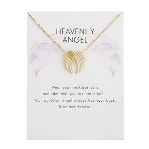أجنحة الملاك قلادة القلائد بطاقة مع الذهب والفضة الألوان سبائك قلادة المرأة مجوهرات الأزياء هدايا