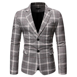 Mens Blazer Male Mens New Stylish Casual male suit Plaid Business Wedding Party Suit Tops wedding for men Asian Size