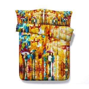 cama de la pintura al óleo 3d funda de edredón amarilla California King de 3 piezas Juego de cama con 2 Almohada Shams Colcha de cama de Tapa de Consolador No Filler