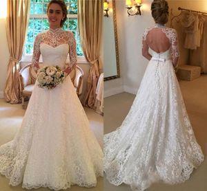 Старинные полные кружева линия свадебные платья с длинными рукавами Высокое шею спинки свадебные платья высокого качества дешевые свадьбы свадебные платья ср. Платье