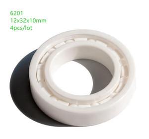 4pcs Free shipping 6201 ZrO2 full Ceramic bearing 12x32x10mm Zirconia Ceramic deep groove ball bearings 12*32*10mm
