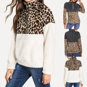 Women's Long Sleeve Fleece Sweatshirt Warm Zip Leopard Fuzzy Hoodie Pullover bluzy damskie winter hoodie Sweatshirts Femme NEW