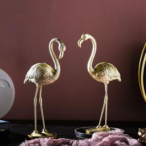 Nordic resina dorata Flamingo ornamenti casa Livingroom Tavolo Miniature Crafts TV Cabinet Office Desktop decorazione di arte