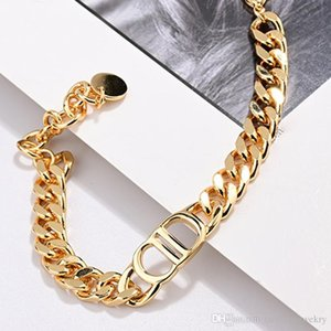 роскошных ювелирных женщины дизайнер ожерелья золото толстых цепи колье ожерелье с буквой D логотип ожерельем цепи ключицы и браслетами