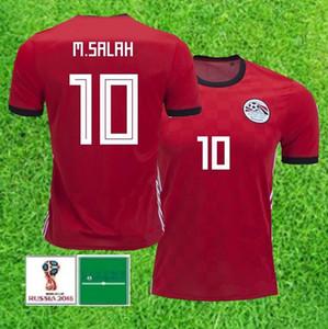 Copa do mundo de 2018 em casa Egito Futebol Jersey Egito # 10 M.SALAH camisa de futebol em casa de futebol vermelho uniformes de vendas