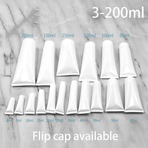 Beyaz Plastik Yumuşak Tüp Kozmetik Yüz Temizleyici El Kremi Şampuan Ambalaj sıkın Şişeleri 100pcs / lot Doldurulabilir Compacts 5ml-300ml