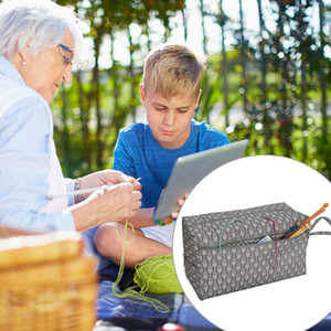 Crochet Hooks Tópico Yarn saco de armazenamento DIY Costura Kit Organizer Titular Pouch