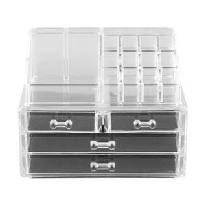 4 tiroirs de rangement Boîte à bijoux en acrylique transparent cosmétiques Maquillage Organisateur outil Porte-Rouge à lèvres Dresser Stand Case