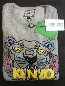 estilo melhor mulher nova camisola homem cabeça do tigre bordado de manga comprida O-pescoço pullover hoodies camisolas jumper de fatos de treino 12 cores S-XXL