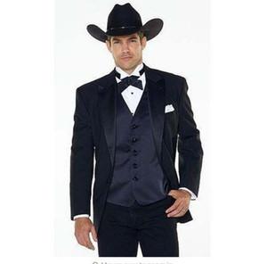 (Jakcet + Pants + Vest) Notch Lapel Western Cowboy Style Herrenanzug schwarz Bräutigam Wear Smoking Best Man Hochzeitsanzüge Für Männer YM