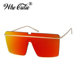 wholesale 2018 Oversized One Piece Sunglasses Men Women Retro Vintage Rimless Red Pink Lens Square Frame Sun Glasses Shades 583