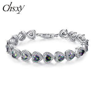 CHSXY High Quality Rainbow Color Heart Zircon Bracelets For Women Micro Paved Zircon Chain Bracelet Luxury CZ Jewelry