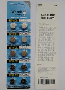600 kartları / Lot 1.5 v AG13 LR44 A76 alkalin düğme pil para piller saatler oyuncaklar için 10 ADET blister kart başına
