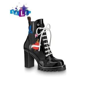 Лучшие женские кожаные сапоги 1a2y7w Звездный след популярным толстый каблук черные кожаные шнурки вулканизата к роскошной коробки bootswith подошва Мартин