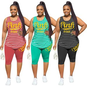 PINK Plus size 3XL Women summer tracksuits sports two piece set outfits sleeveless stripe top short pants casual sportswear jogger suit 3457