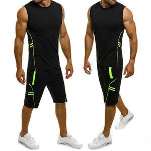 2019 nueva marca de fábrica de algodón de rayas Hombres Hombres Body tapas ocasionales de ajuste del músculo
