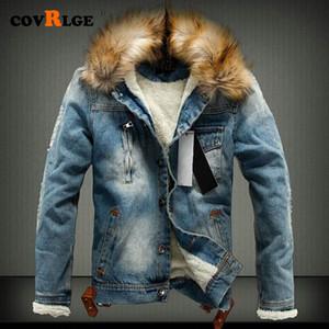 Covrlge o transporte da gota 2020 nova jaqueta homens calça jeans e casacos de denim inverno quente grossa outwear S-4XL Preto MWJ147