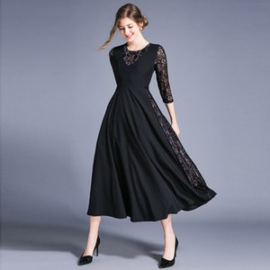 DROWYD 패치 워크 레이스 꽃 미디 드레스 여성 패션 여자 캐주얼 그린 블랙 보헤미안 긴 드레스 우아한 파티 Vestidos