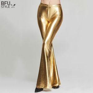 Discotecas de Sexy Mujeres Negro Rojo Pantalones trompeta de oro de la etapa azul del partido de danza de la llamarada polainas delgadas brillantes pantalones pantalones de Jazz de baile