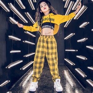Children Hip Hop Dancing Clothes Kids Yellow Hoodies Pants Hip Hop Stage Wear Balllroom Competition Girls Street Dancewear