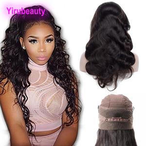 Frontal pelucas de la onda del cuerpo indio prima virgen del pelo del cordón de la peluca frontal 360 8-26inch Pre desplumados por mayor de encaje peluca de pelo del bebé