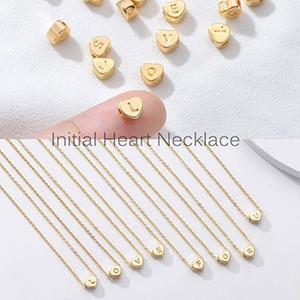 Sind Sie sicher, nicht klicken und sehen? Titan Stahl-Pfirsich-Herz-Buchstabe-Halskette 26 Buchstaben Liebe Clavicleweinlesehalskette Halskette 2020 fashon