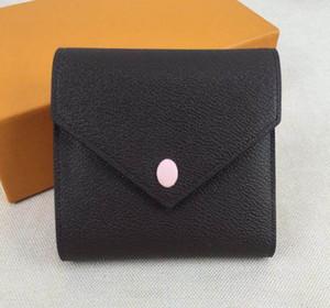 Livraison gratuite! réelle porte le code de date porte-monnaie en cuir multicolore court porte-monnaie de carte femme homme poche zippée classique M41938