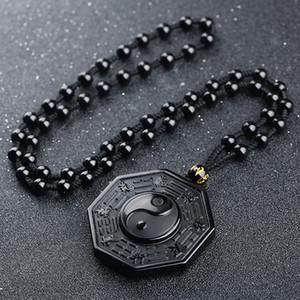 Cadeaux Yin et Yang Collier réglable chaîne de bijoux unisexe chinois BAGUA Taiji Fabala Gossip Obsidian Pendentif naturel