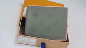 De alta calidad de la tela escocesa de Paris hombre del diseñador famoso estilo de la carpeta especial carpeta de los hombres de la lona múltiple cartera pequeña corta con caja 63297