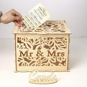 L taille bricolage boîte à cartes en bois pour les fournitures de mariage M. Mme carte cas Check-in Box en bois boîte de carte de voeux de mariage