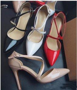 De nouvelles d'été de style lacent Rouge Bas Talons hauts Pointu ladies Toe célébrité Bandage Stiletto Sandales Pompes Croix-Robe Bracelet Chaussures