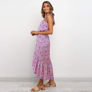2020 İlkbahar-Yaz Kadın Bohemian Tarzı Yüksek Bel Dantel-up Kayış Çiçek Midi Elbise yazdır