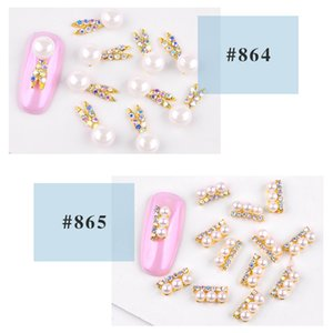 Cross-Border Exclusive Manicure New South Korea Nail Alloy Jewelry Pearl Rhinestone Stickers Decorations 24 Mixed Batch