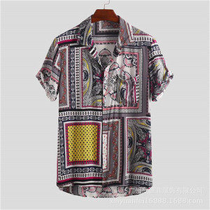 Plage Hommes Chemises Designer Vintage imprimé Casual manches courtes en vrac Lapel Bouton cou Chemises habillées Mode Hommes Chemises
