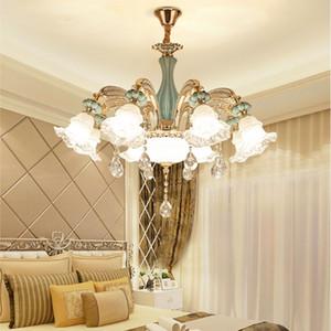 European Ceramic Wohnzimmer Kronleuchter Einfache Atmosphäre Crystal Light Luxuxschlafzimmer Gastronomie hängende Lampen-Zink-Legierung Leuchter-Beleuchtung