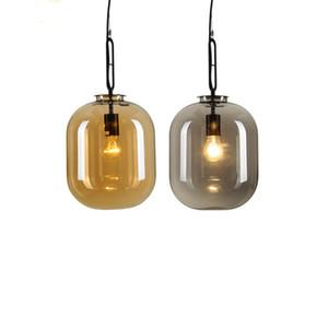 Verre transparent Ambre Gris moderne Suspension Lustre Plafonnier Luminaire pour Dinning Room Home Decor PA0358