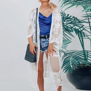2020 pizzo floreale Long Beach fodera estiva Donne semitrasparente shirt solido anteriore aperto Abito Cardigan Top Donna Bianca camicetta