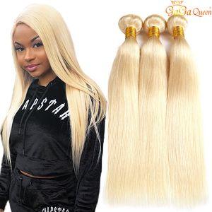 613 Loiro peruana linha reta cabelo Weave 3 Pacotes peruana Virgin Cabelo Liso 613 extensões do cabelo humano Gagaqueen