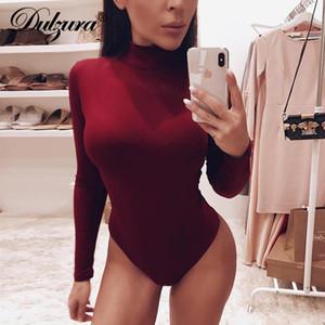 Baumwolle Langarm-Frauen sexy Body 2 Herbst Winter weibliche Mock Neck warme Kleidung slim fit Art und Weise fester Körperanzug